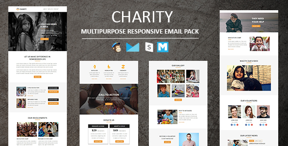 Charity -  Responsive Email Template With Stamp Ready Builder Access