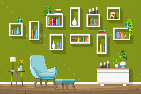 GraphicRiver Illustration of a Modern Living Room 21205708