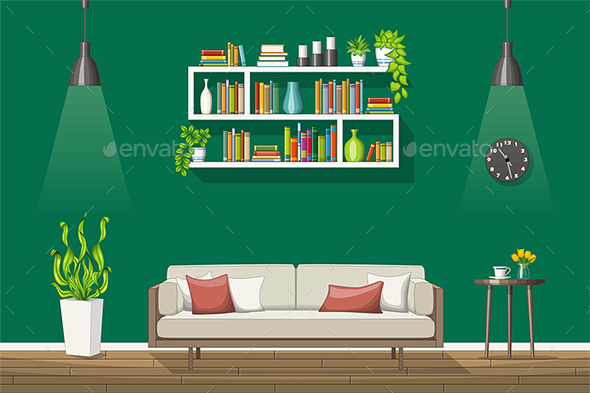 GraphicRiver Illustration of a Modern Living Room 21205712