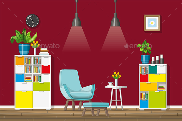 GraphicRiver Illustration of a Modern Living Room 21205714