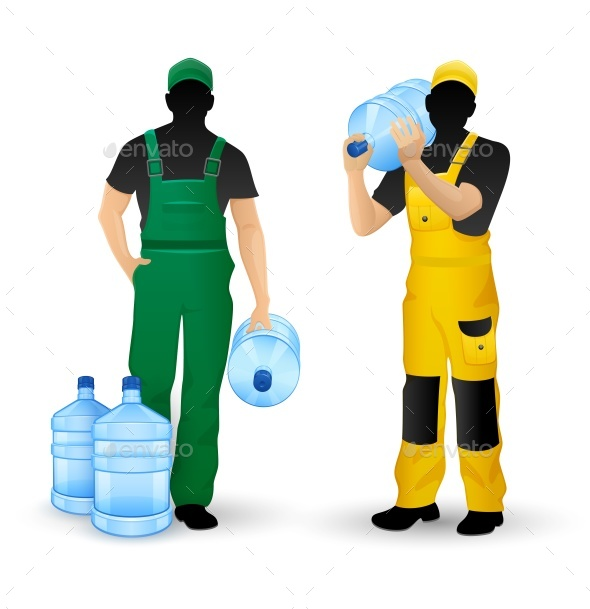 GraphicRiver Male Silhouettes Working on Delivering Drinking Water 21205780