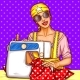Vector Pop Art Girl with Sewing Machine