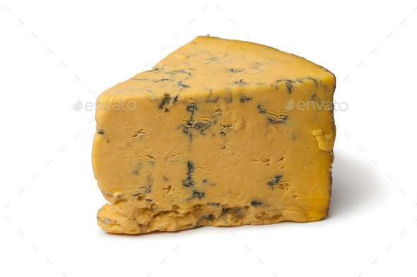 Wedge of English Shropshire Blue cheese - Stock Photo - Images