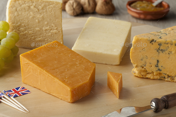 Pieces of traditional english cheese - Stock Photo - Images