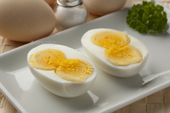 Cooked double yolk egg - Stock Photo - Images
