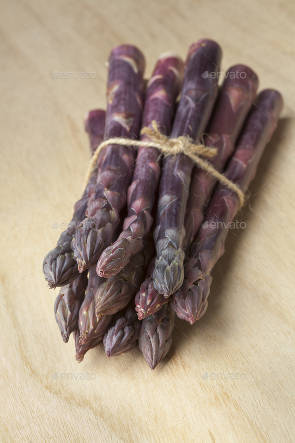 Bunch of purple asparagus - Stock Photo - Images