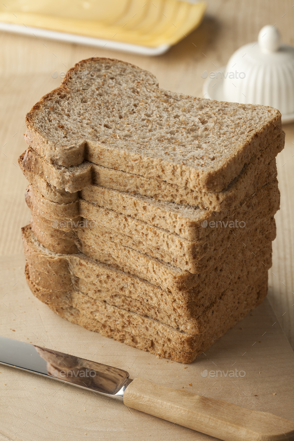 Pile of slices brown bread - Stock Photo - Images