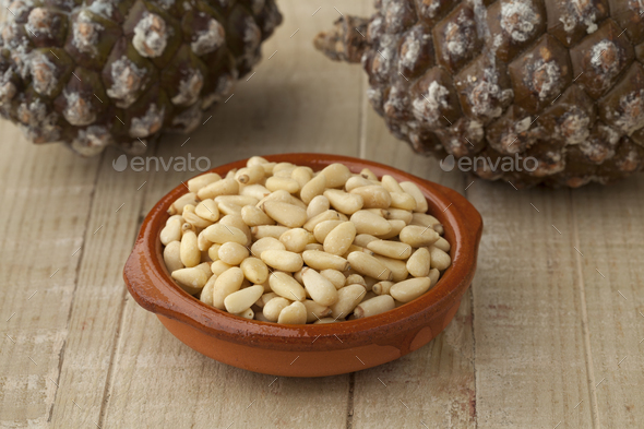 Bowl with pine nuts - Stock Photo - Images
