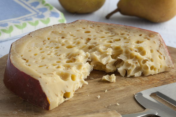 Piece of Leiden cumin cheese - Stock Photo - Images