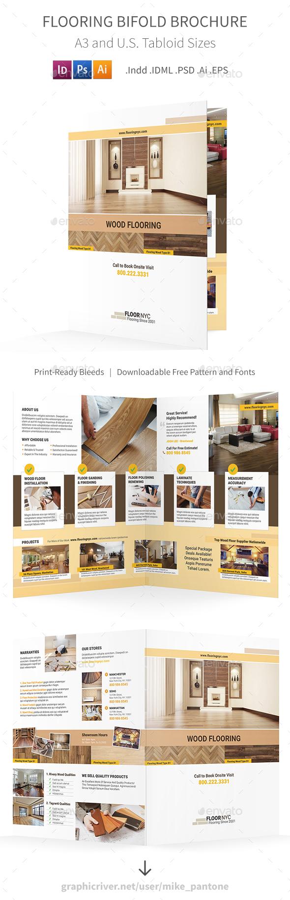 Flooring Service Bifold / Halffold Brochure - Informational Brochures