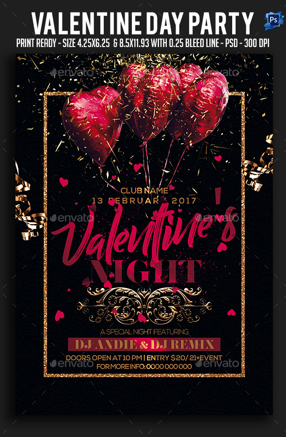 Valentine Night Party Flyer - Clubs & Parties Events