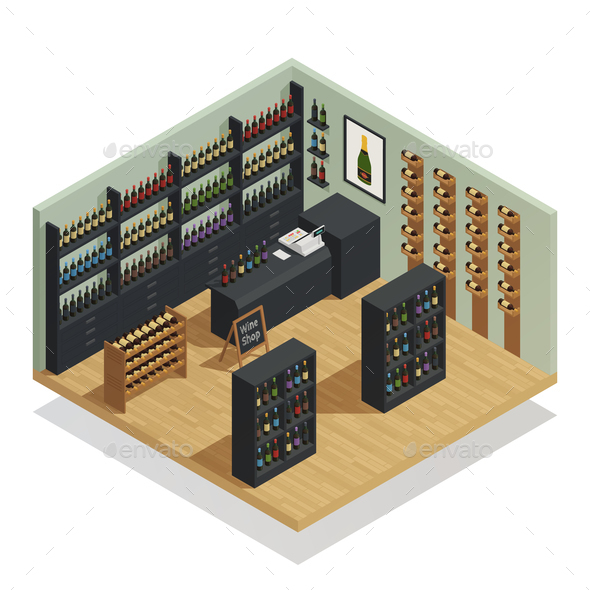 GraphicRiver Wine Shop Isometric Composition 21206019