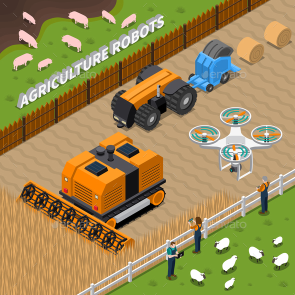 GraphicRiver Farming Robots Isometric Composition 21206018