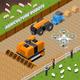 Farming Robots Isometric Composition