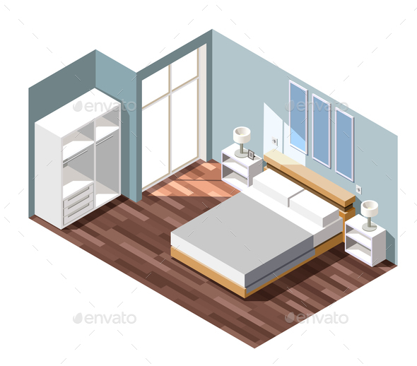 GraphicRiver Bedroom Interior Isometric Composition 21206022
