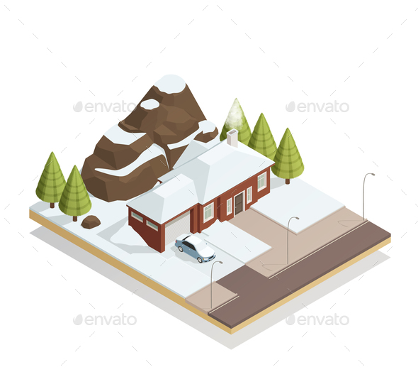 GraphicRiver Winter Bungalow Landscape Isometric Composition 21206024