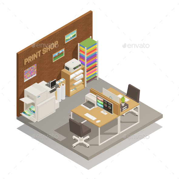 Print Shop Interior Isometric Composition - Business Conceptual