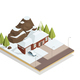 Winter Bungalow Landscape Isometric Composition