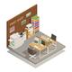 Print Shop Interior Isometric Composition