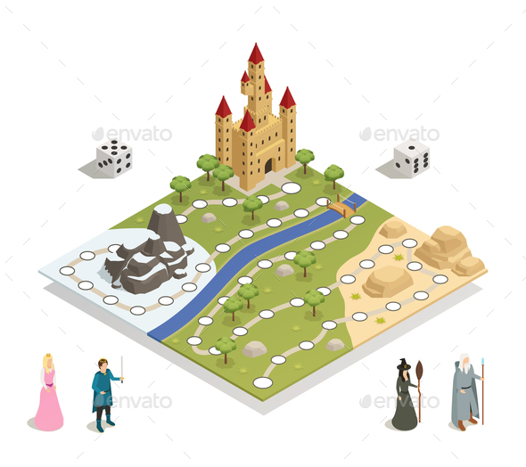 GraphicRiver Fairy Tale Gameboard Isometric Composition 21206027