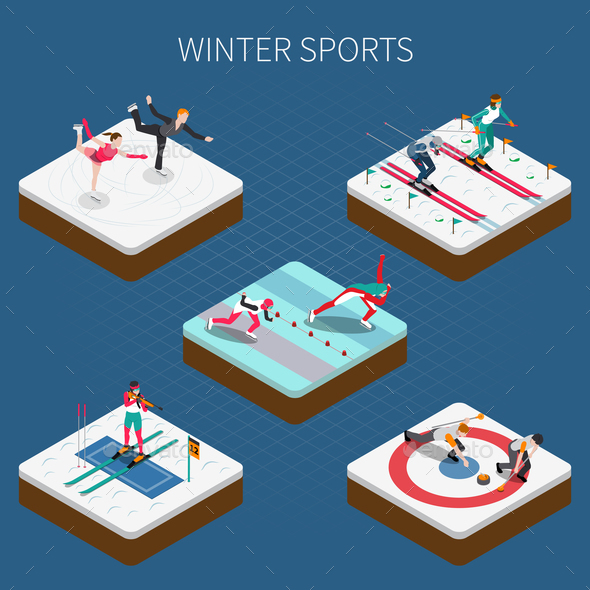 GraphicRiver Winter Sports Isometric Composition 21206028
