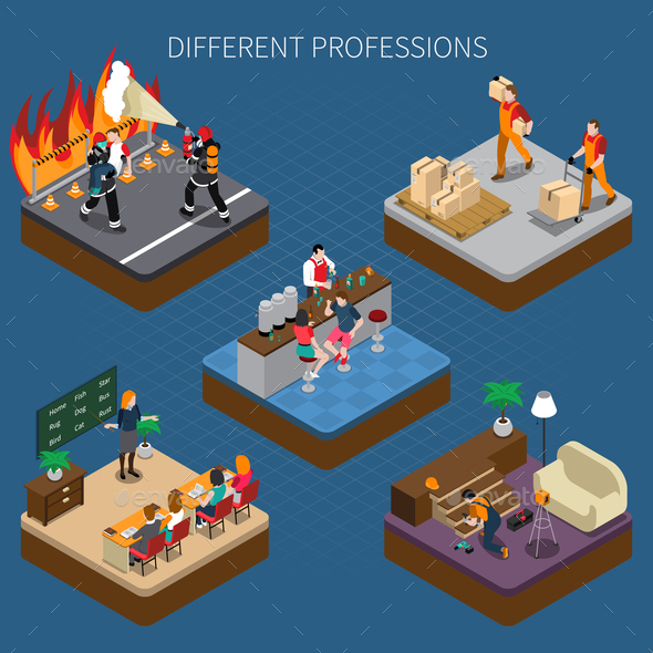 Modern Professions Isometric Composition - People Characters