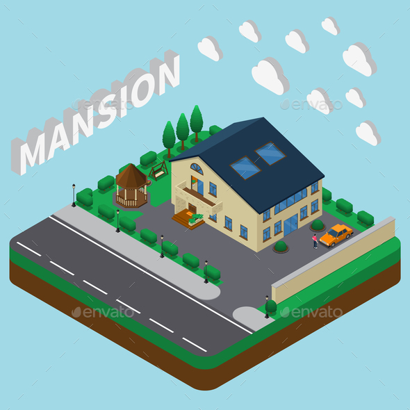 GraphicRiver Summer Mansion Isometric Composition 21206031