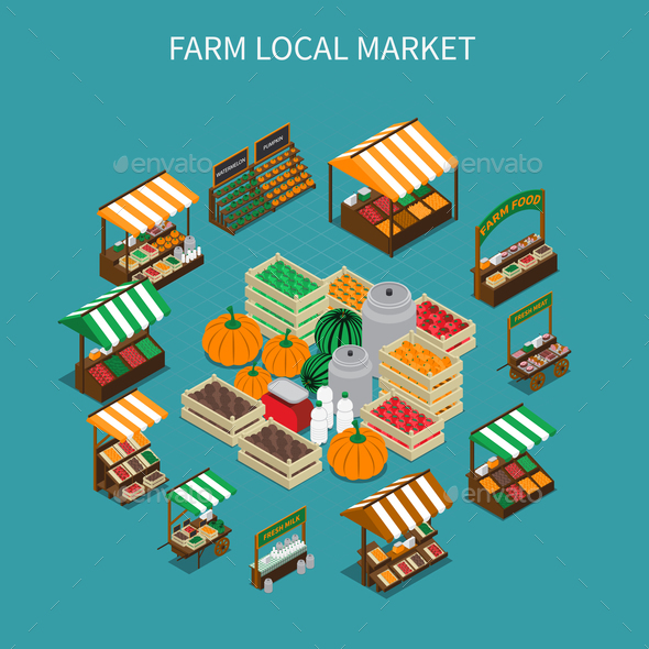 GraphicRiver Local Market Round Composition 21206032