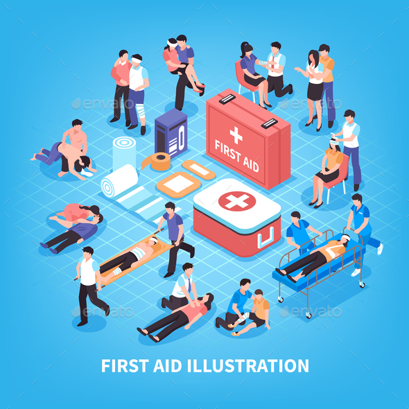First Aid Isometric Composition - People Characters
