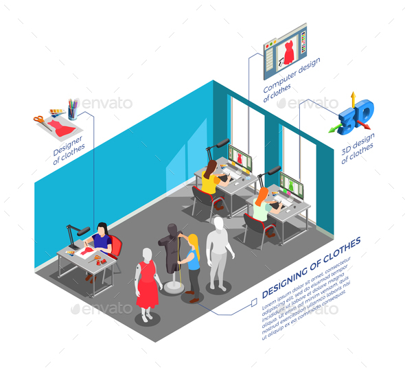 GraphicRiver Clothes Factory Designers Isometric Composition 21206034