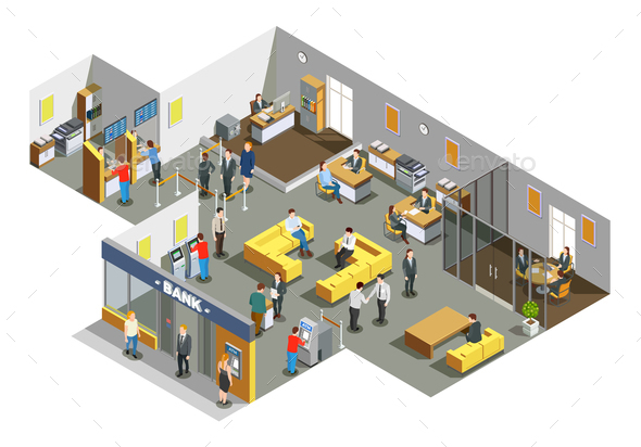 Bank Office Interior Isometric Composition - Buildings Objects