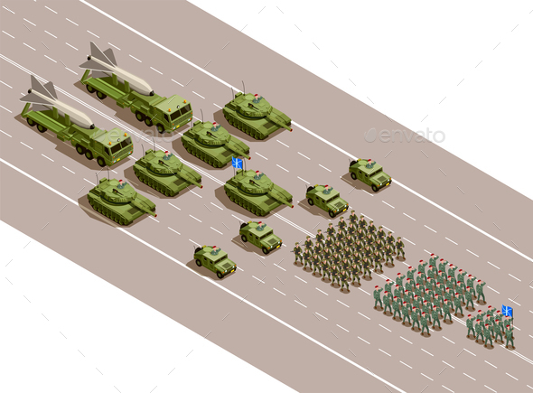 GraphicRiver Military Parade Isometric Composition 21206036