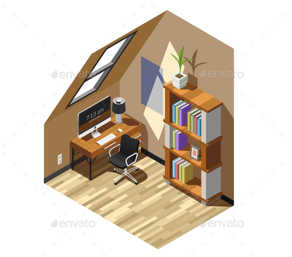 Home Workplace Isometric Composition - Buildings Objects