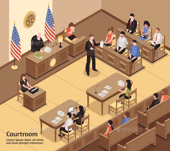 GraphicRiver Courtroom Isometric Illustration 21206042