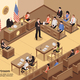 Courtroom Isometric Illustration