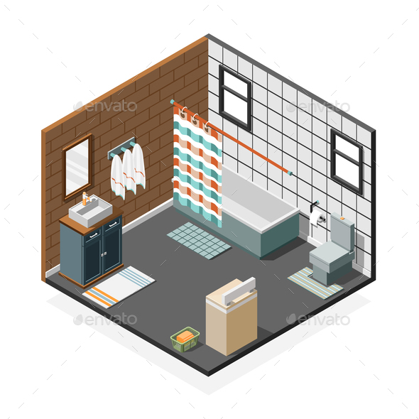 GraphicRiver Combination Bathroom Isometric Interior 21206051