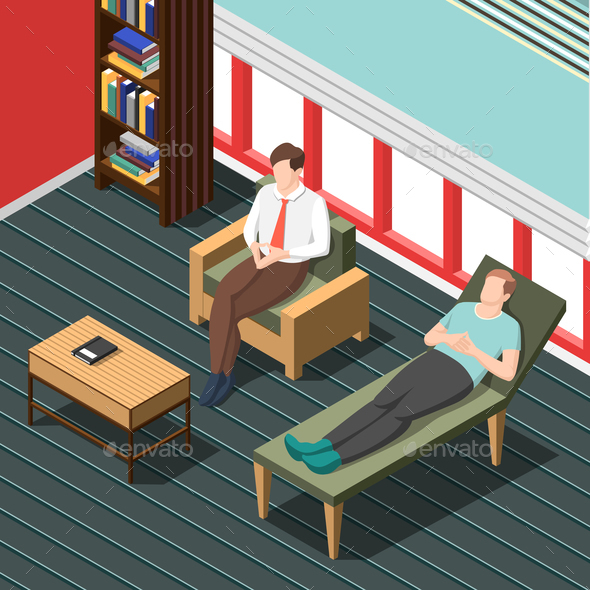 Psychotherapy Counseling Isometric Background - People Characters