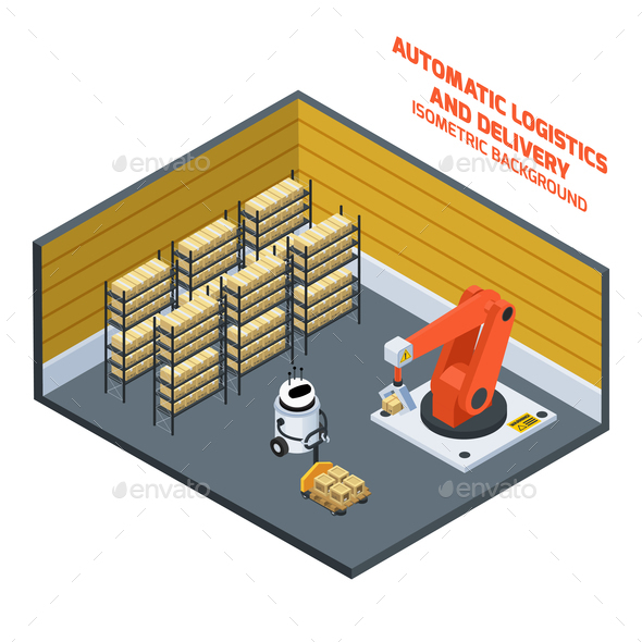 GraphicRiver Automatic Logistics And Delivery Isometric Composition 21206056
