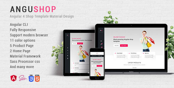 Angushop - Angular 4 Shop Template Material Design Best Scripts
