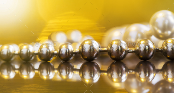 Golden and white pearl necklace gift - Stock Photo - Images