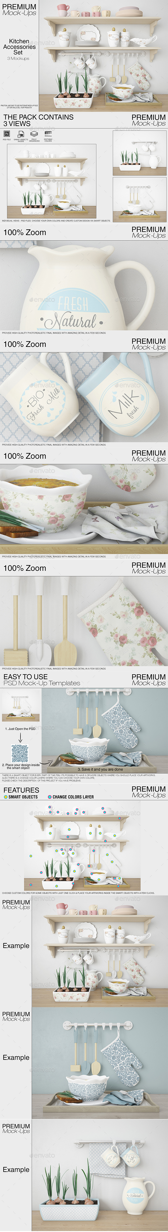 Kitchen Accessories Set - Print Product Mock-Ups