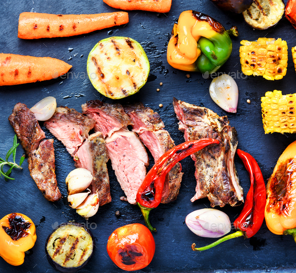 Beef meat with grilled vegetables - Stock Photo - Images