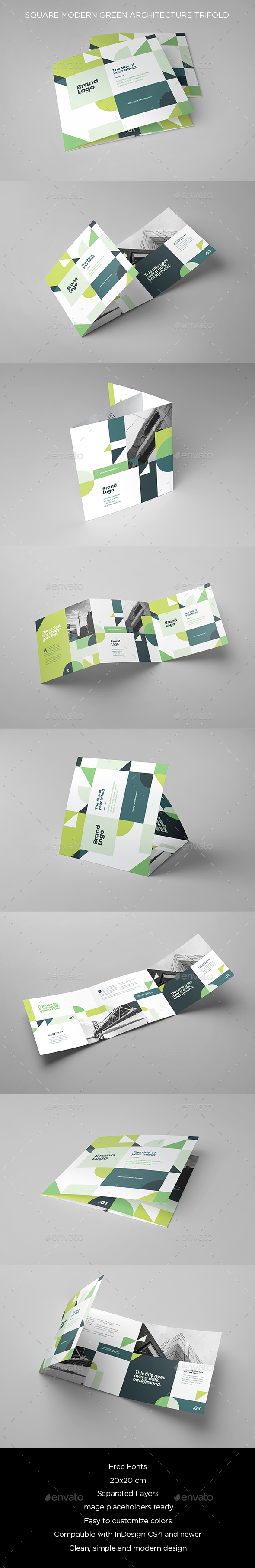 Square Modern Green Architecture Trifold - Brochures Print Templates