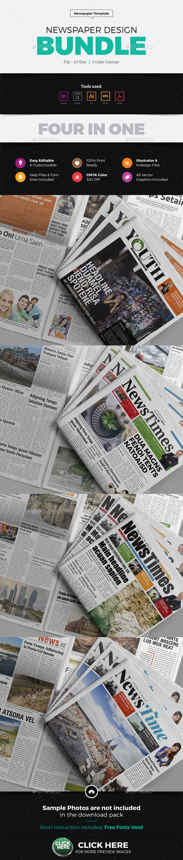 Newspaper Design Bundle - Newsletters Print Templates
