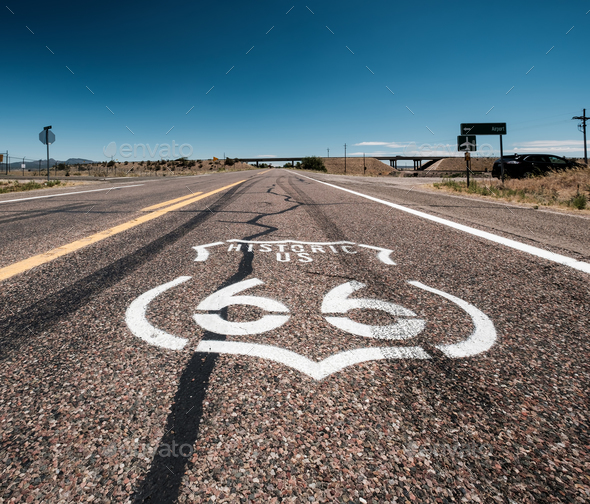 Street sign on historic route 66 in California - Stock Photo - Images