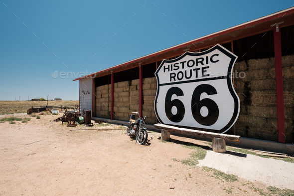 Old motorcycle near historic route 66 in California - Stock Photo - Images