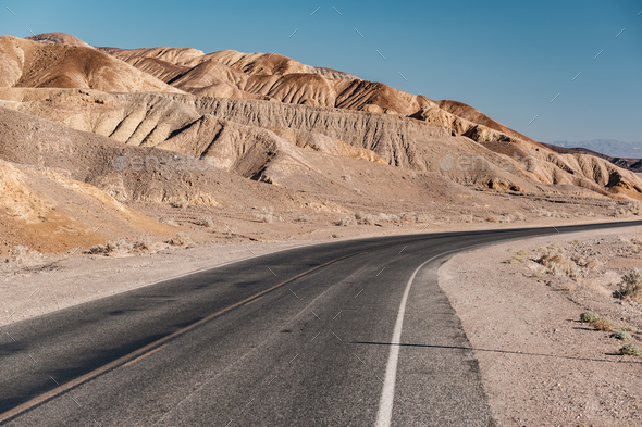 Highway in Death Valley National Park, California - Stock Photo - Images