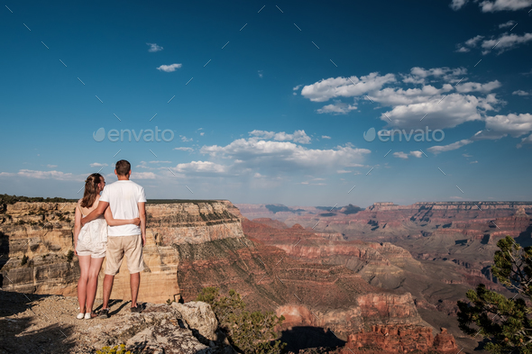 Tourists hiking at Grand Canyon - Stock Photo - Images