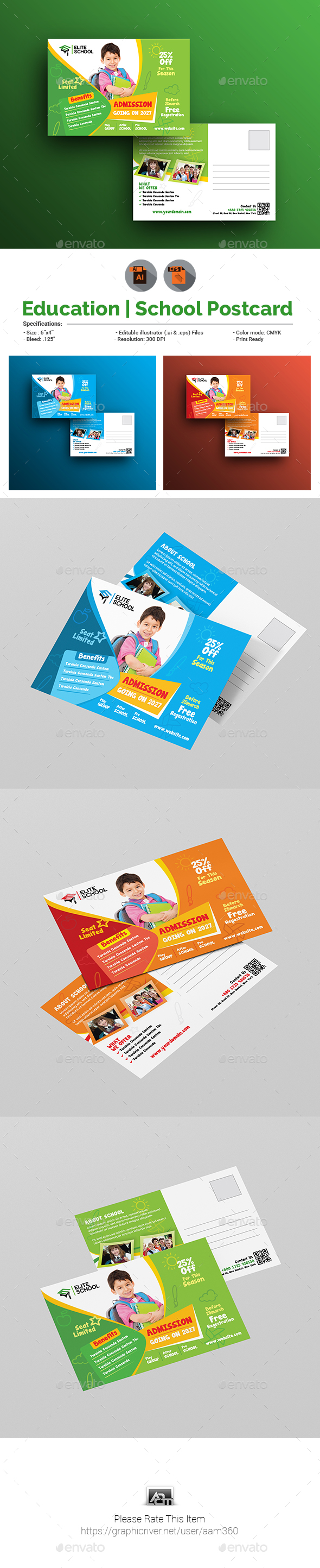 Junior School Postcard Template - Cards & Invites Print Templates
