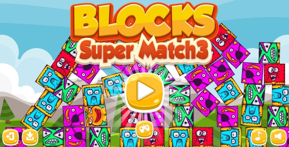 CodeCanyon Blocks Super Match3 HTML5 Game & Android Capx 21207011